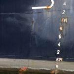 Photo, photographie de détail de coque de bateau du Finistère, bleu, blanc, marron, gris, orange @ Christophe Pluchon