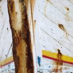 Photo, photographie de détail de coque de bateau du Finistère, blanc, orange, bleu, marron, rouille, jaune, rouge @ Christophe Pluchon