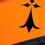Photo, photographie de détail de coque de bateau du Finistère, hermine, orange, blanc, noir , gris @ Christophe Pluchon