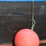 Photo, photographie de détail de coque de bateau du Finistère, bleu, blanc, noir et rouge avec bouée rouge au bout d'une corde ou d'un cordage vert @ Christophe Pluchon