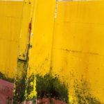 Photo, photographie de détail de coque de bateau du Finistère, rouge, blanc, jaune, vert avec une béquille salie par les algues @ Christophe Pluchon