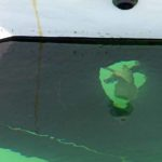 Photo, photographie de détail de coque de bateau du Finistère, blanc, vert, orange, rouille, eau, mer, noir, évacuation @ Christophe Pluchon