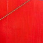 Photo, photographie de détail de coque de bateau du Finistère, rouge, bleu, gris, marron, avec une corde ou un cordage @ Christophe Pluchon